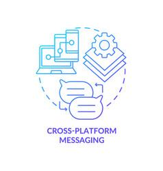 Cross platform messaging blue gradient concept vector