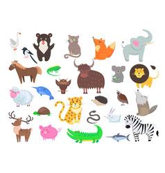 Cute animals cartoon flat set vector