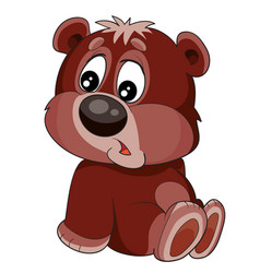 cute character a little brown bear who sits on vector image