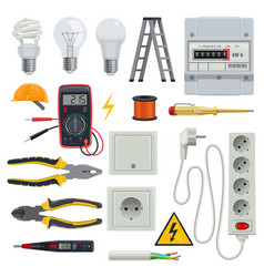 Electrician tools set vector