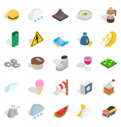 Electricity icons set isometric style vector