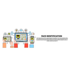 face recognition and identification system gadgets vector image