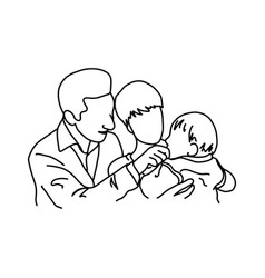 father and mother holding their baby in arms vector image