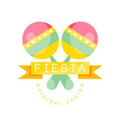 Fiesta original logo design colorful label vector