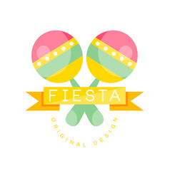 fiesta original logo design colorful label with vector image