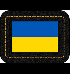 flag of ukraine icon on black leather backdrop vector image