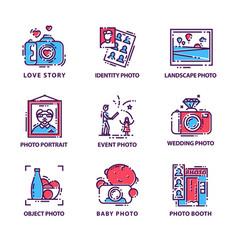 flat set of original photography logos vector image
