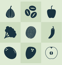 Fruit icons set with bell pepper broccoli kiwi vector