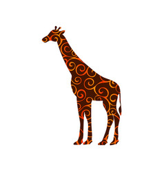 Giraffe mammal color silhouette animal vector