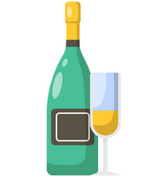 glass sparkling wine and bottle with cork vector image