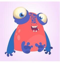 Goofy red monster with blue hands cartoon vector