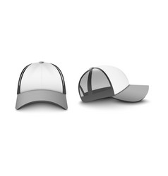 Gray and white trucker cap set realistic vector