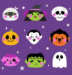 Halloween cute monster avatar set vector