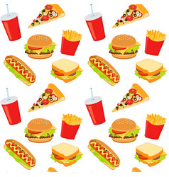 hamburger hot dog cola drink takeaway food vector image