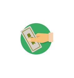 Hand holding money or money in hand vector