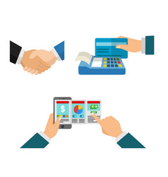 hand shake and pay the bill in business vector image