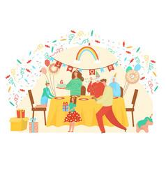 Happy birthday cartoon flat vector