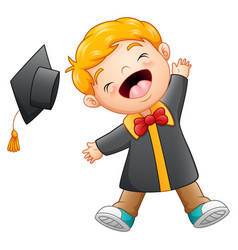 Happy graduation boy cartoon vector