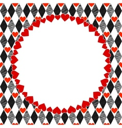 Harlequin Hearts Red Black and White Art vector