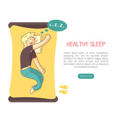 healthy sleep landing page template with space vector image