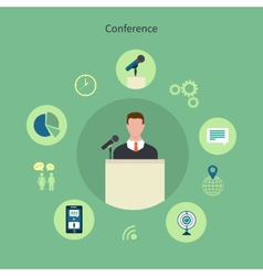 Icons set of meeting conference infographic design vector