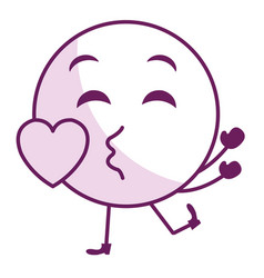 In love face emoticon kawaii character vector