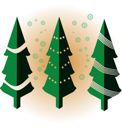 isometric green christmas tree with snowflakes vector image
