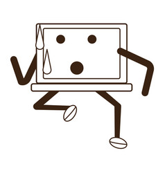 kawaii laptop computer icon vector image