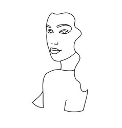 line drawing a beautiful woman 6 vector image