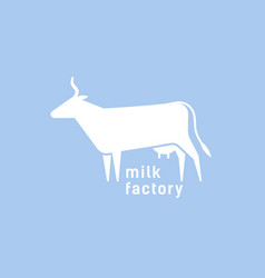 logotype with silhouette cow logo with vector image