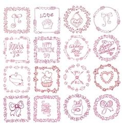 Love heart doodle brushesValentinewedding frame vector