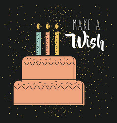 Make a wish pink cake with candles burning dark vector