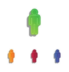 Man sign Colorfull applique icons vector