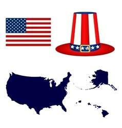 Map of the usa with a hat and flag on white vector