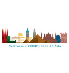 Mediterranean skyline landmarks colorful vector