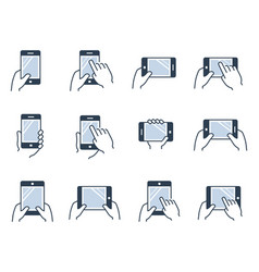 mobile gadgets tablets and smartphones in hands vector image