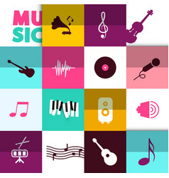 music background with icons set vector image