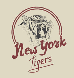 new york tiger retro label vector image