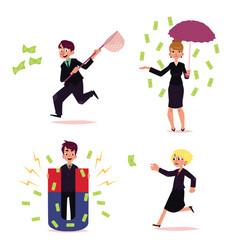 Office people chasing for money set vector