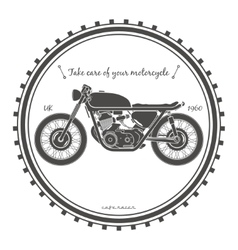 Old vintage motorcycle logo cafe racer theme vector