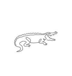 one continuous line drawing wild crocodile vector image