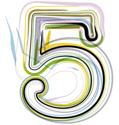 Organic Font number 5 vector image