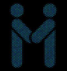 persons handshake mosaic icon of halftone circles vector image