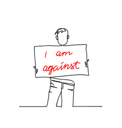 protester boy one line drawing vector image
