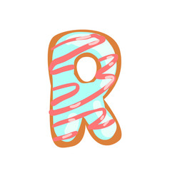 R letter in the shape of sweet glazed cookie vector