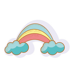 Rainbow with cloud cartoon icon vector