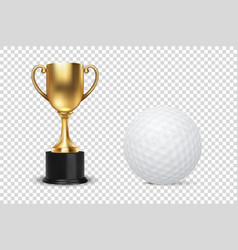 realistic 3d golden champion cup icon vector image