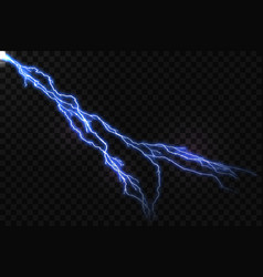 Realistic blue lightning and glowing thunder bolt vector
