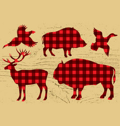 Restaurant menu with pheasant boar bison deer vector