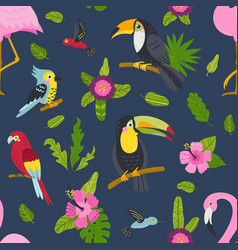 Seamless pattern with cute birds and plants vector